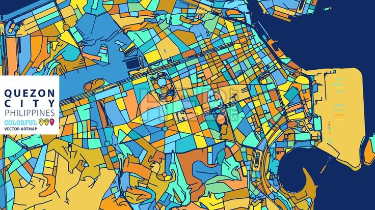 Quezon City,Philippines, Colorful Vector Artmap. Blue-Orange-Yellow Version for Website Infographic, Wall Art and Greeting Card Backgrounds. [conten... ... #map #stockimage #colorsful #background #vector #design #art
