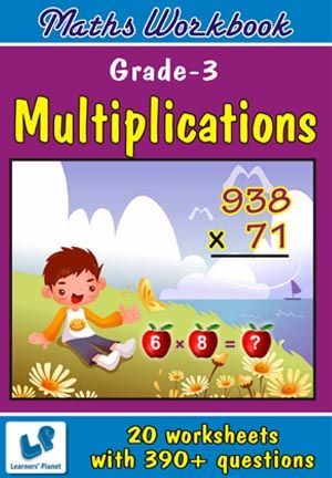 GRADE-3-MATH-MULTIPLICATIONS-WORKBOOK This workbook contains printable worksheets on Multiplications for Grade 3 students.  There are total 20 worksheets with 390+ questions.  Pattern of questions : Subjective Questions, Objectivity based Questions.    PRICE :- RS.149.00