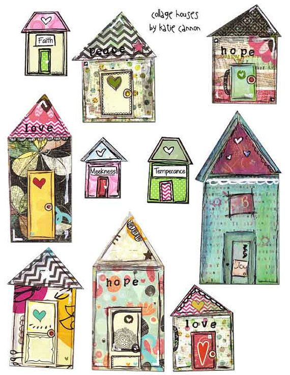 Mixed Media Printable Collage Houses Art by ASouthernLadysDesign