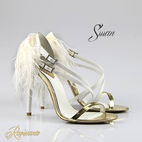Dreamy feather sandals...with a touch of gold.
