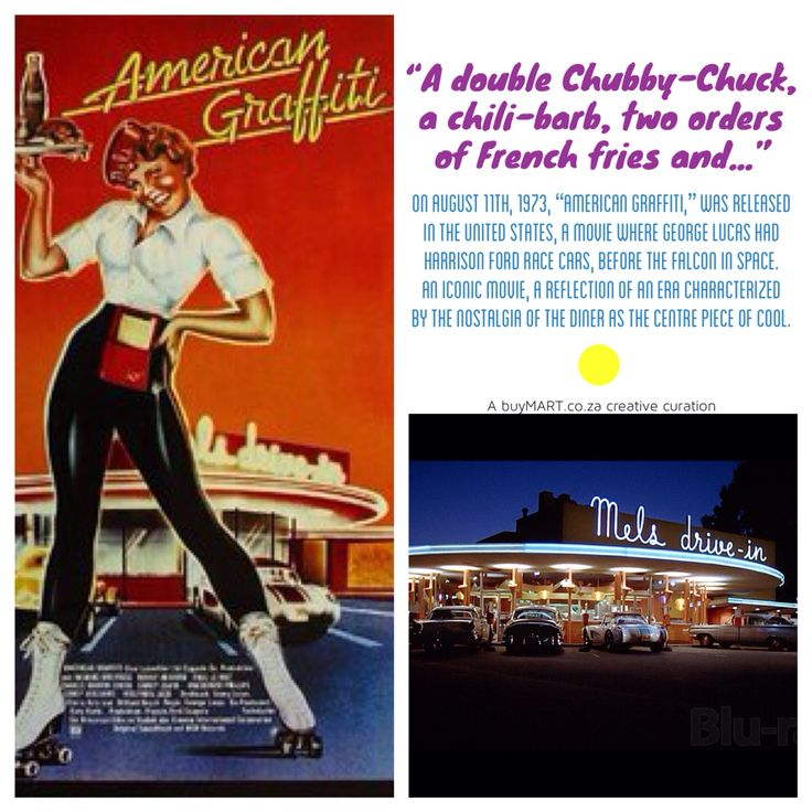 "On 11th August, 1973, ""American Graffiti,"" was released  in the United States.  Read more: http://www.eater.com/2015/1/29/7932901/review-how-american-graffiti-diner-forever-changed-film  #AmericanGraffiti #buyMART #foodie #Movies #Art #Food #Chef #Africa #GeorgeLucas #Entrepreneur #StartUp #SouthAfrican #FoodPorn #Design #Creative #Ad #GraphicDesign #Advertising #Brand #Marketing #London #NewYork #Diner #Instachef #SouthAfrica #AgencyLife #HarrisonFord #Blogger #Paris"