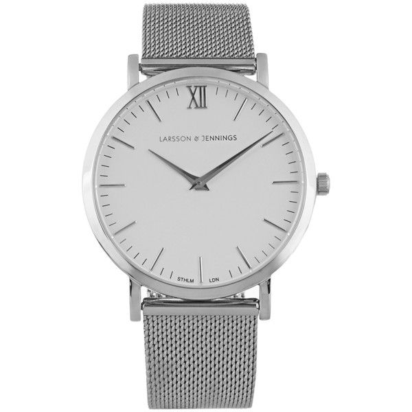 Larsson & Jennings Lugano stainless-steel watch ($270) ❤ liked on Polyvore featuring men's fashion, men's jewelry, men's watches, mens blue dial watches, mens white watches, stainless steel mens watches, mens white dial watches and mens diamond bezel watches
