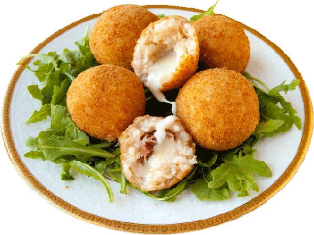 Рисовые шарики c сыром и ветчиной (Suppli al Telefono)