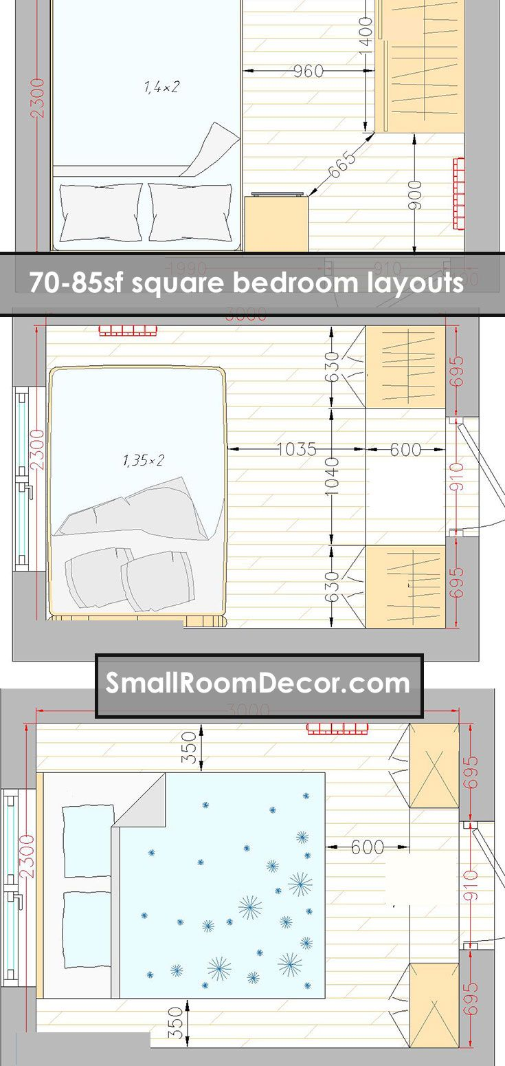 16 Standart And 2 Extreme Small Bedroom Layout Ideas From 65 To 140 Sf Small Bedroom Layout Bedroom Furniture Layout Bedroom Layouts
