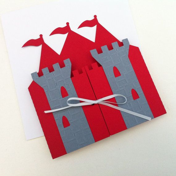 Prince Castle Invitation folders. Knight, King birthday party, palace invitation. Castle shape in Red and Gray. Folders only.