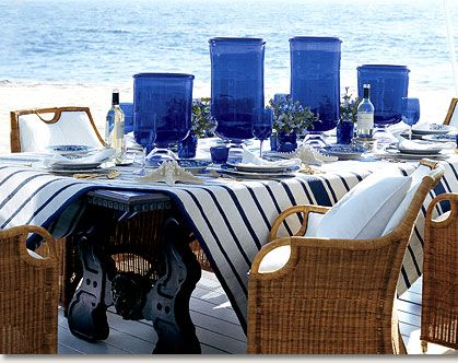 With coordinating prints from Ralph Lauren's Maritime Outdoor collection your outdoor table can be as stylish as indoors.  Seat cushions and tablecovers coordinate in nautical stripes and crisp, clean white.  There is a whole collection available to round out your decor.