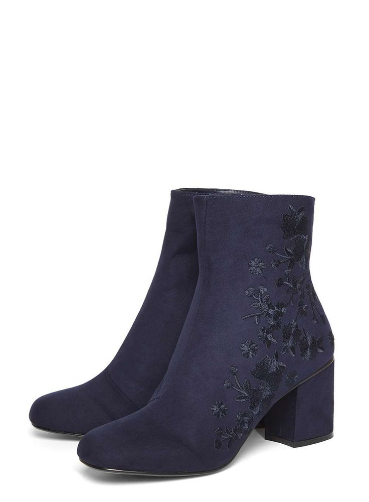 Navy 'Aluna' Floral Ankle Boots
