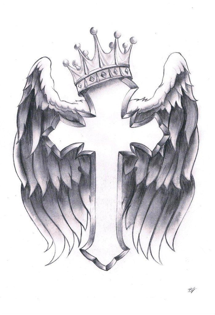 Crown Crucifix Wings Tattoo Design