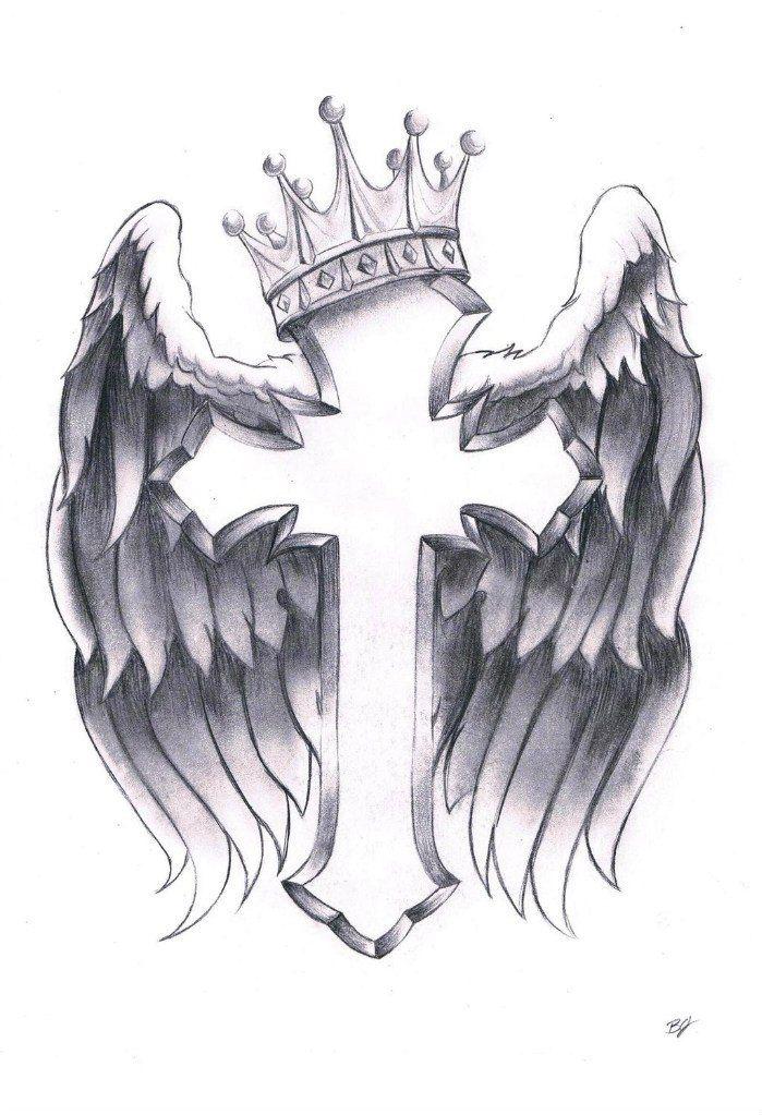 Crown Crucifix Wings Tattoo Design