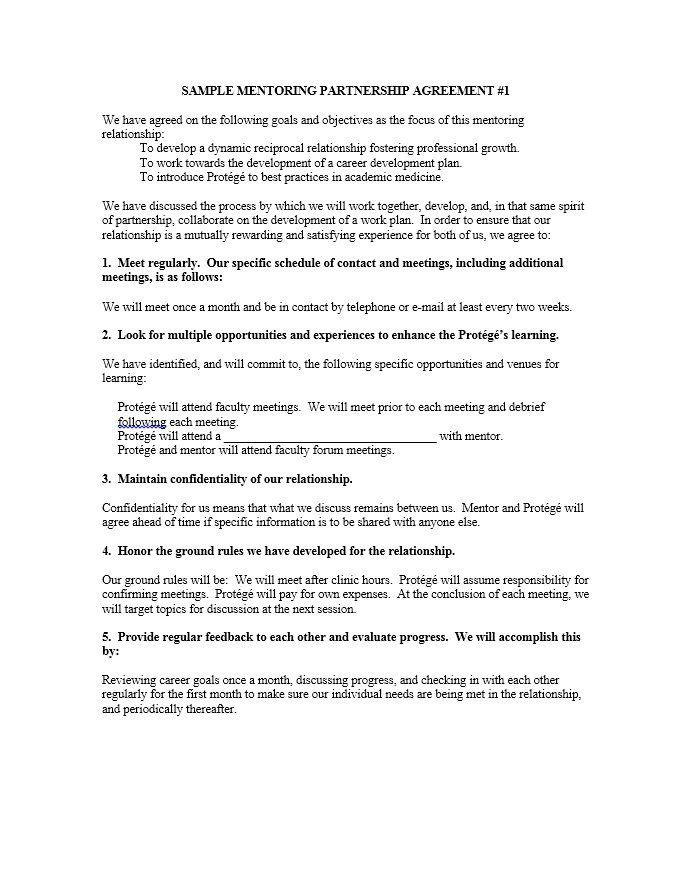 Partnership Agreement Template Career Development Plan