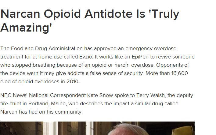 Narcan Opioid Antidote Is 'Truly Amazing'. Pinned by the You Are Linked to Resources for Families of People with Substance Use  Disorder cell phone / tablet app on June 11, 2014;      Android - https://play.google.com/store/apps/details?id=m.thousandcodes.urlinkedlite;                    iPhone - https://itunes.apple.com/us/app/you-are-linked-to-resources/id743245884?mt=8co b