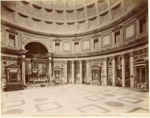 Photo-vintage-albumen-Roma-Interno-del-Panteon-Ed-Alinari