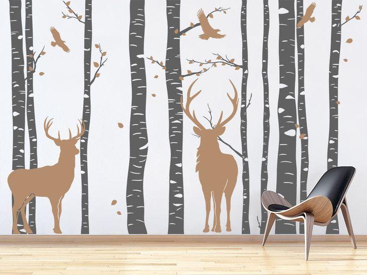 Great Wandtattoo Wald mit Hirschen