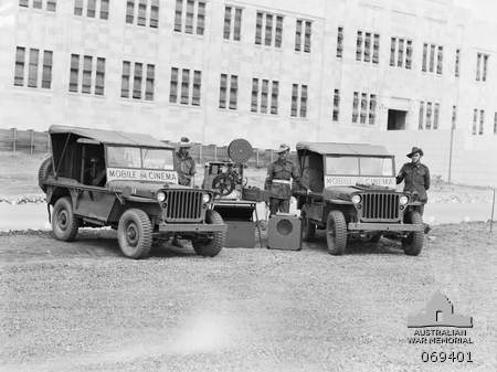 BRISBANE, QLD. 1943-09. JEEPS OF THE 84TH MOBILE CINEMA UNIT AND THE 85TH MOBILE…