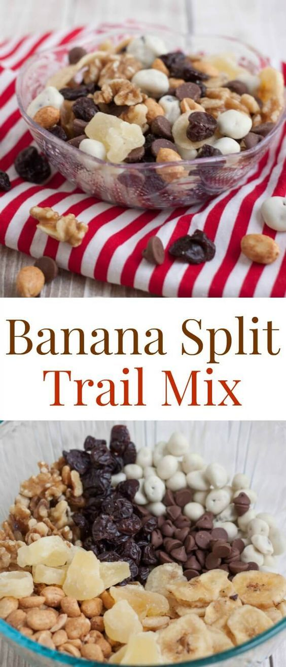 Banana Split Trail Mix is full of protein and nutrient rich nuts and dried fruit…