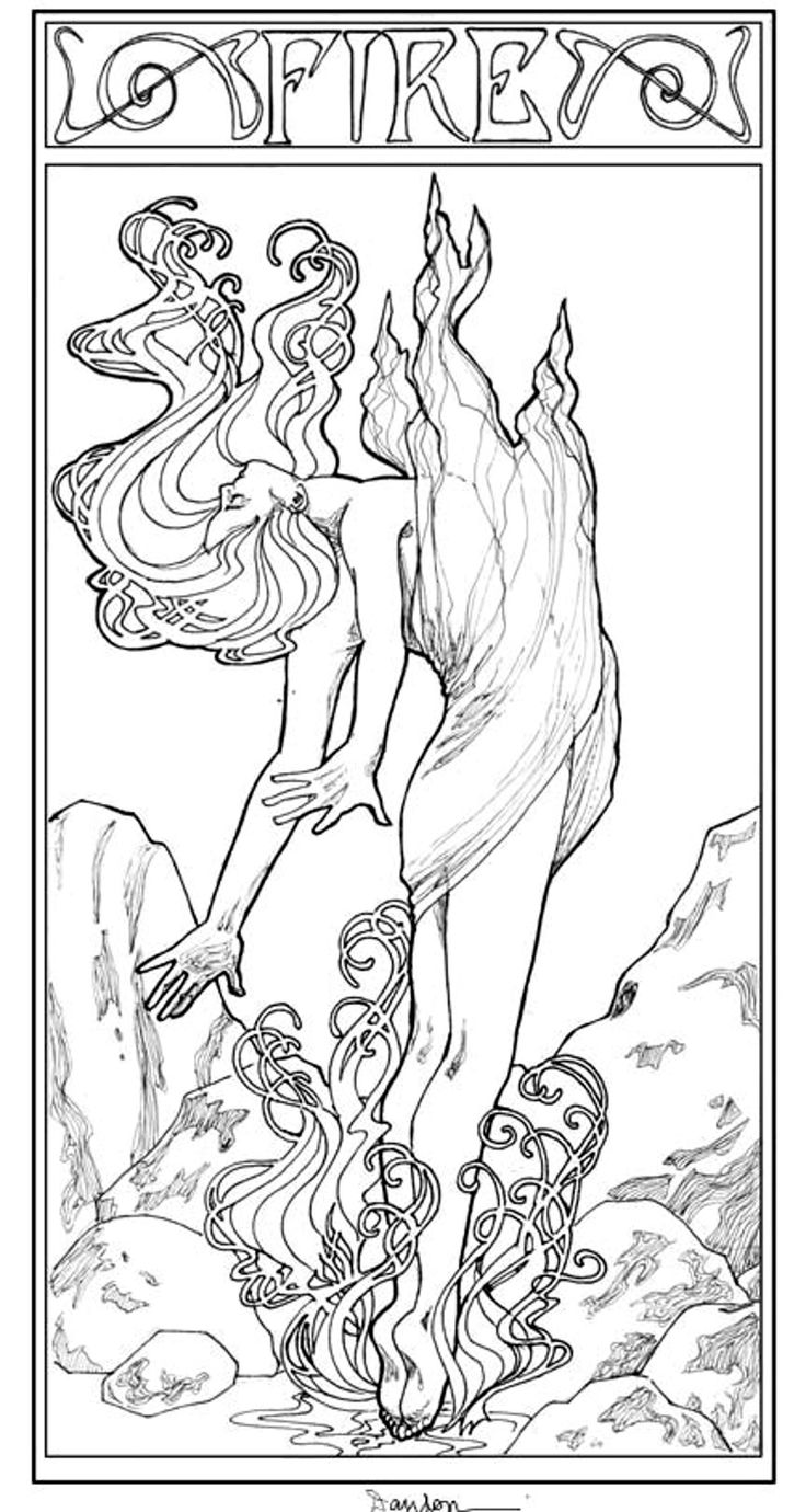 Free coloring page coloring-adult-art-nouveau-style-fire-woman. A magical takeoff ...