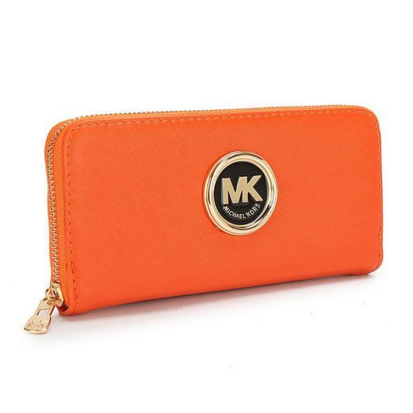 Michael Kors Outlet Saffiano Continental Large Orange Wallets, -save up 79% off michael kors store online !!