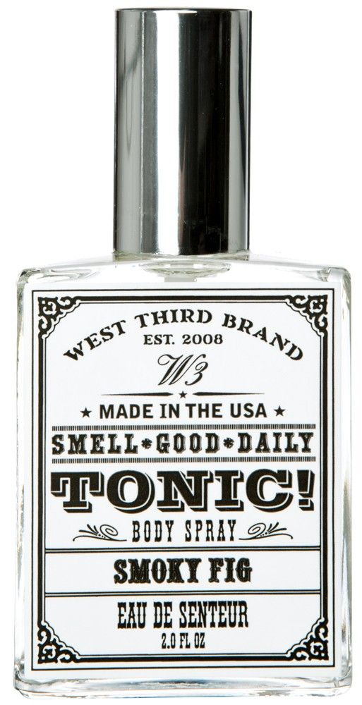SMOKY FIG BODY SPRAY    Smell good daily with a little spritz & spray of Smoky Fig tonic! This incredible body spray comes in an old timey labeled glass bottle inside a very cool box. Take a whiff and you will smell fresh green fig infused with lemon and Agave leaves, layered with sage, lavender, and coconut with hints of lily and smoked fir with musk.    $28.00