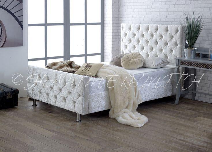 Diamond Crushed Velvet Upholstered Bed Frame 3ft 4'6 Double 5ft King Size SALE!! | Home, Furniture & DIY, Furniture, Beds & Mattresses | eBay!