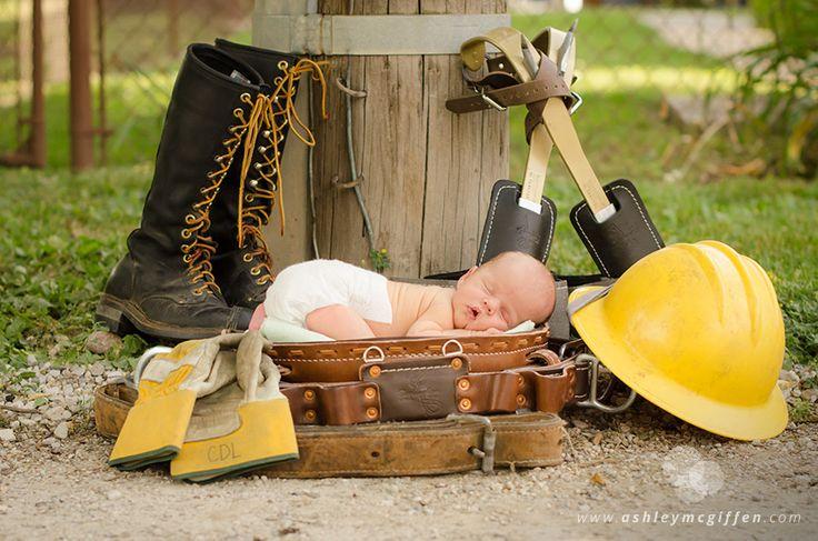 Newborn Portraits, baby lineman www.ashleymcgiffen.com  ©Ashley McGiffen Photography