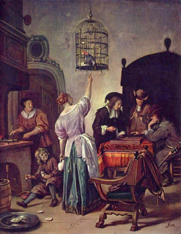 siftingthepast_'The parrot cage_Jan Steen_1665