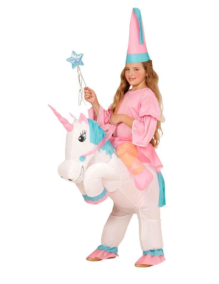 Déguisement princesse à dos de licorne gonflable fille : Ce déguisement de princesse à dos de licorne gonflable est pour fille. Il se compose de la licorne gonflable et d'un chapeau (baguette et haut non inclus). La licorne est...