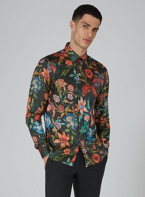 be9b20d2207 Dark Green Floral Long Sleeve Shirt