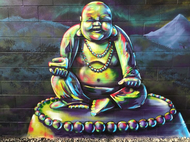 If you're sick of looking at a blank fence, then change it! A mural is a great way to add colour and change the mood in your backyard. #buddahbelly #Buddah #backyard #mural #aerosolart