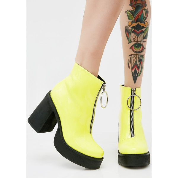 Current Mood Neon Franky Platform Boots ($88) ❤ liked on Polyvore featuring shoes, boots, neon yellow, current mood, zipper boots, neon yellow shoes, chunky-heel boots and chunky heel platform boots