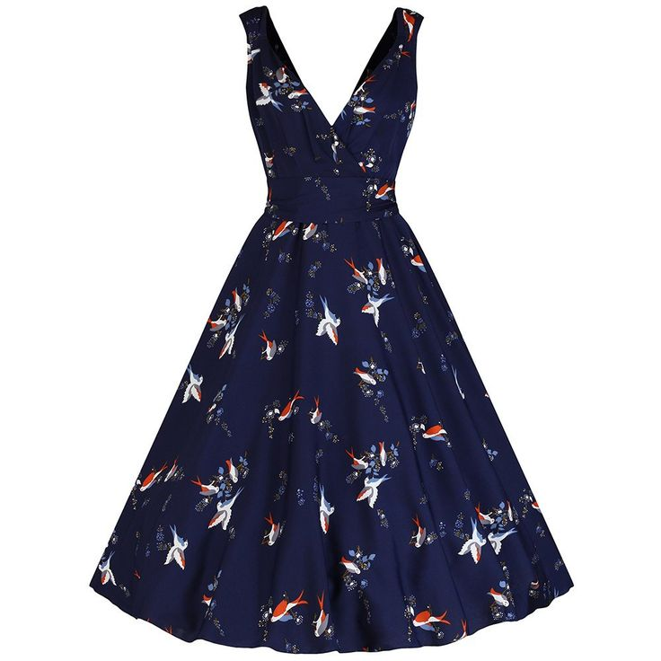 Navy Blue Bird Print Swing Dress
