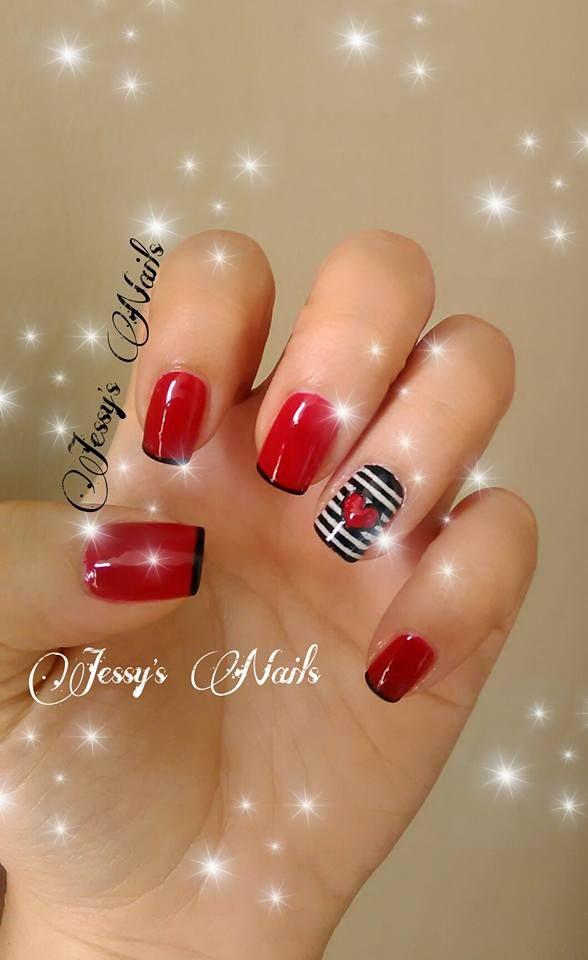 uñas decoradas con rojo #uñas #nail #nails #nailart #uñasdecoradasrojo #corazon #heart #uñasmarineras #jessynails