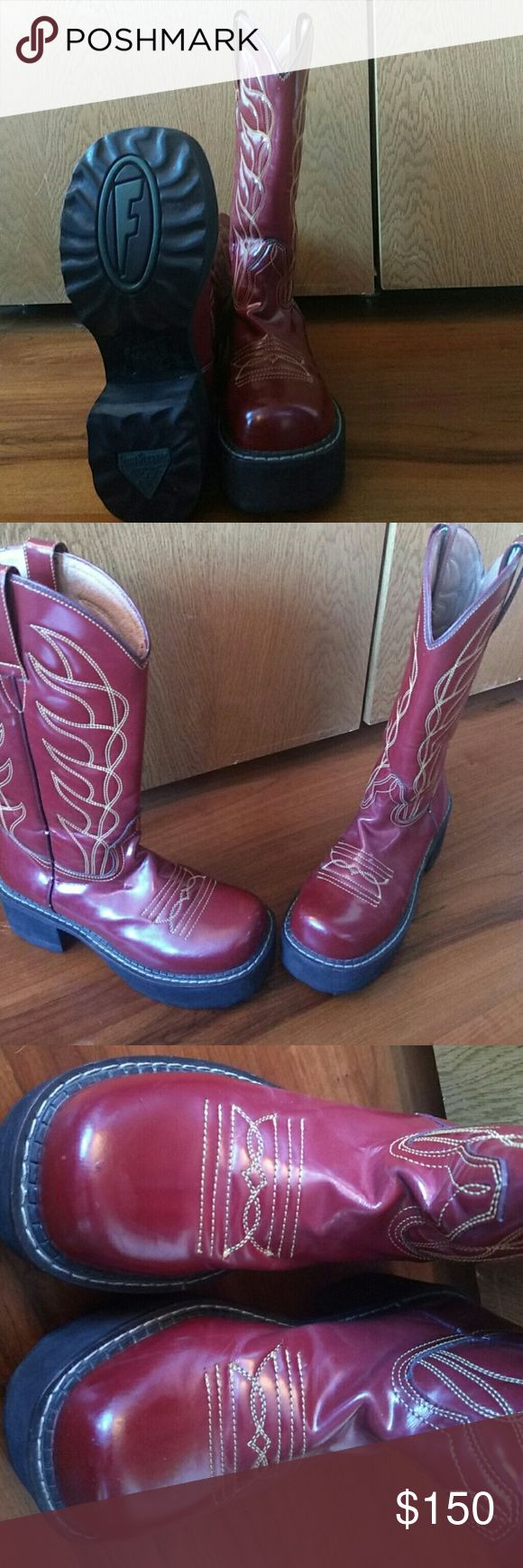 Red fleuvog cowboy boots Perfect condition no scuff marks Shoes Combat & Moto Boots