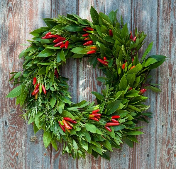 Edible Chilli and Herb Wreath from Tregothnan