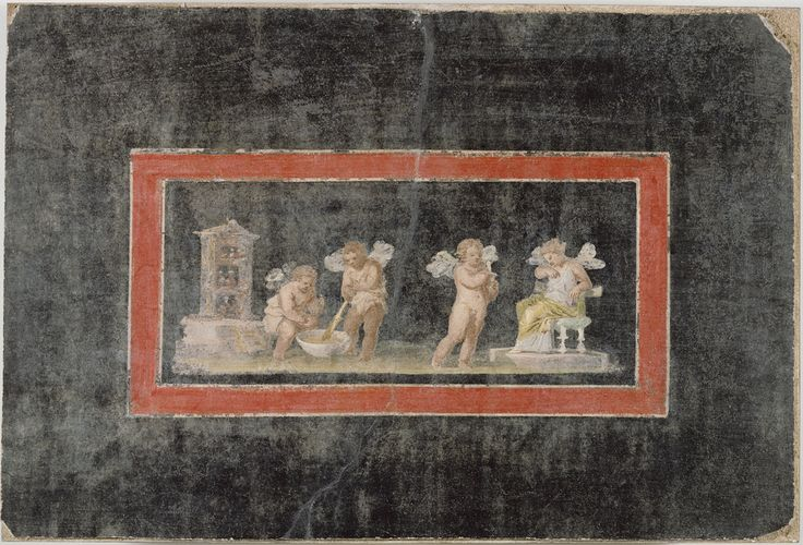 Unknown, Fresco Fragment with Cupids and Psyche Making Perfume, Roman, third quarter of 1st century, Fresco, 38 x 56 cm (14 15/16 x 22 1/16 in.), 72.AG.81. -