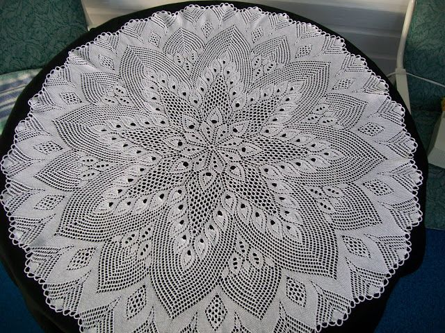"""European Knitted Lace Doily, beautiful 30"""" round doily handmade of 100% fine white cotton by KnittySchmitty."""