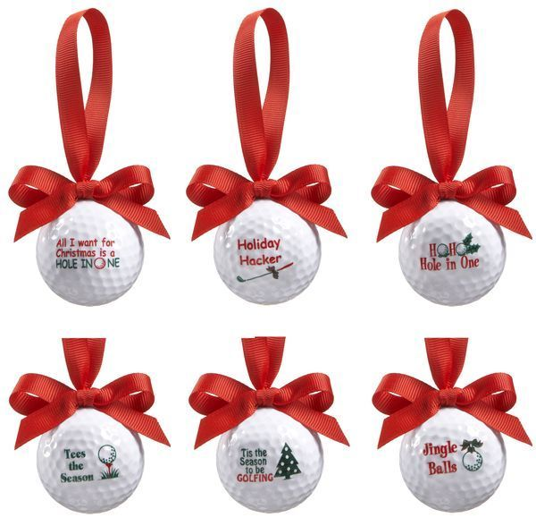 Golf Ball Ornament with Red Ribbon 6 Different sayings Ganz EX28451 #Ganz