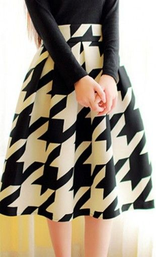 Womens vintage high waist houndstooth mid-length A-line skirt. Fully lined made with knit fabric. #modestclothing
