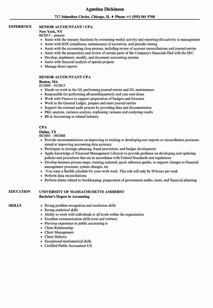 Accountant Resume Sample Pdf Lovely Cpa Resume Samples in