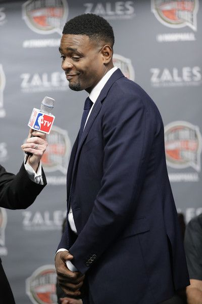 Chris Webber Photos Photos - Naismith Memorial Basketball Hall of Fame finalist Chris Webber is interviewed during the 2017 Naismith Memorial Basketball Hall of Fame announcement at Smoothie King Center on February 18, 2017 in New Orleans, Louisiana. - NBA All-Star Game 2017 - Hall of Fame Announcement