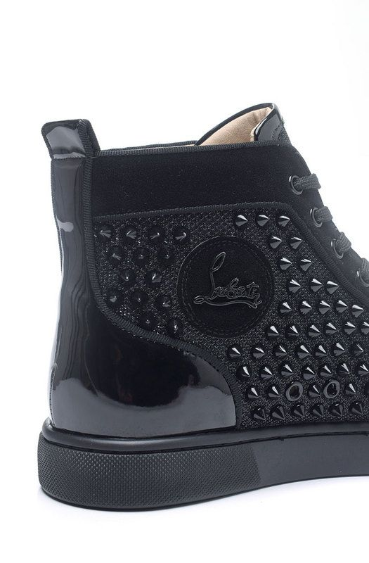 fed39cd5280f Christian Louboutin Louis Spikes Orlato Mens Flat Satin Leather High Top Sneakers  Black