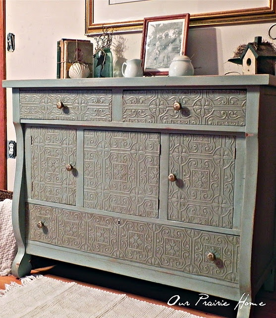 Our Prairie Home Buffet Reveal Paintable Wallpaper Idea Benjamin Moore Covington Blue With Tall Cattail Glaze