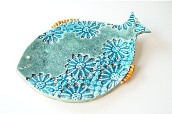 fish plate green ceramic plate ceramic fish handmade by bemika