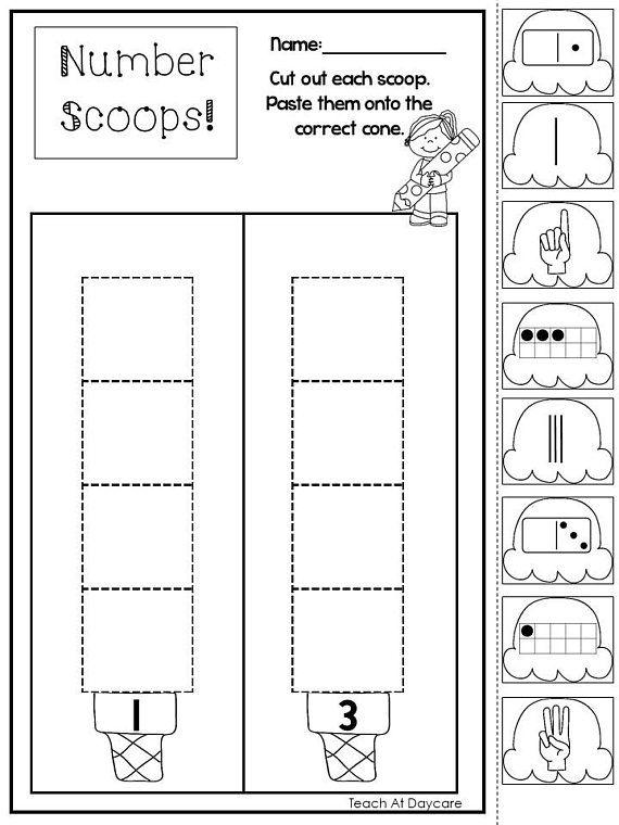 21 Printable Subitizing Numbers Ice Cream Scoops Worksheets Preschool Kindergarten Numbers And Counting Numbers Kindergarten Subitizing Preschool Kindergarten