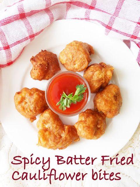 Spicy Indian Cauliflower bites, step by step pics.