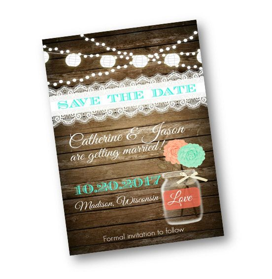 Rustic Save the Date Wedding Coral teal mint Wood Rustic mason jar card string of lights rustic lace wood printable or printed invitation