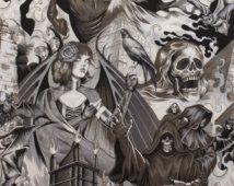 Au cœur des ténèbres par Alexander Henry, tête de mort tissu, tissu gothique, Halloween tissu, 01043A