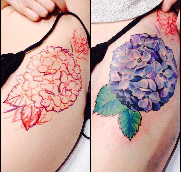 Freehand Hydrangea Tattoo