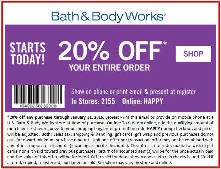 Complete list of all Bath and Body Works Coupons for December guaranteed! Get $10 off Your Purchase with this Coupon Code, $10 off all Orders at Bath and Body Works, Take $10 off Your Order at Bath and Body Works, 5/5(1).