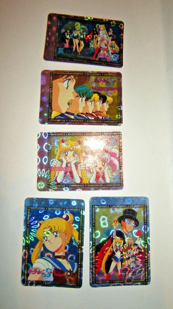 LOT of 5 SailorMoon S Hologram Sticker Cards, 1994, Banpresto, Japan