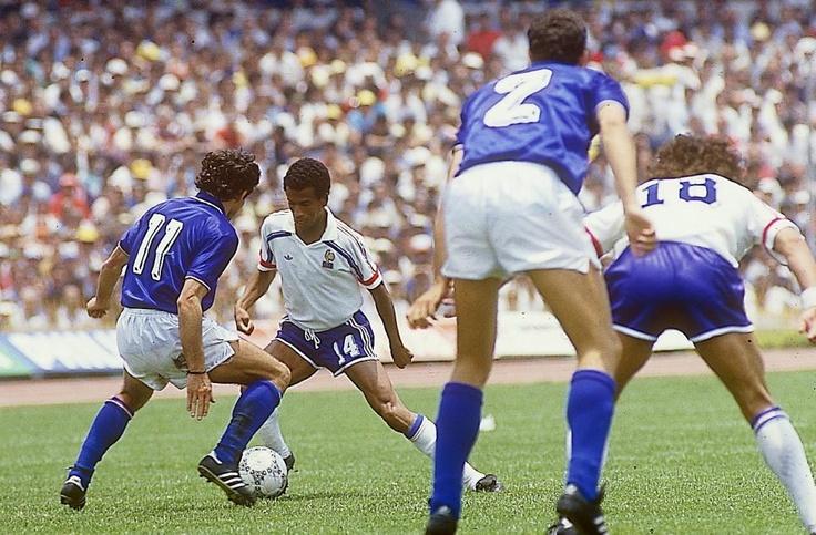Jean Tigana en el Francia-Italia de 1986.